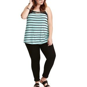 TORRID Green & Black Striped Lace Cami Tank Top 00